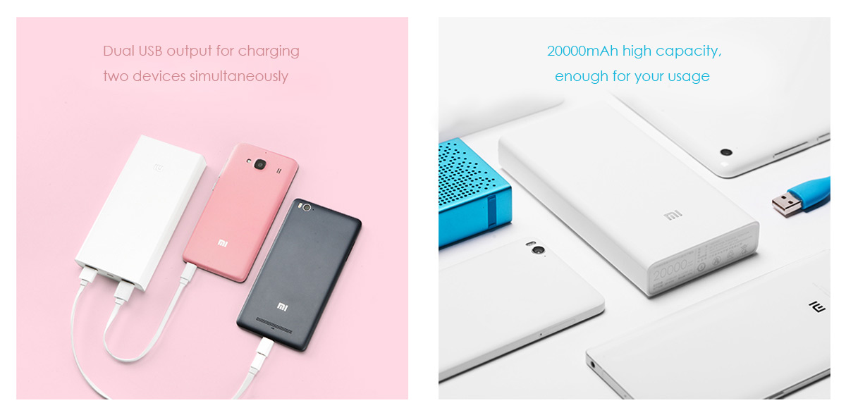Genuine Xiaomi Mi 20000mAh Mobile Power Bank Two USB Outputs Design